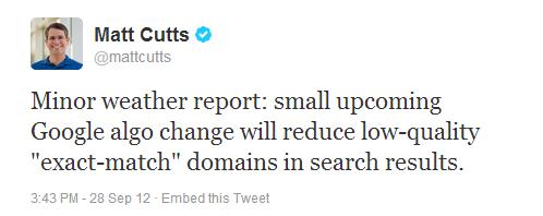 matt cutts EMD更新 谷歌EMD Update 对域名带关键词的影响